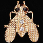 Victorian Naturalist Gold Tone Rhinestone Bumble Bee Brooch