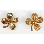 New Old Stock Vintage Gold Tone Four Leaf Clover Pin