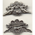 Quality New Old Stock Victorian Cherub & Garland Silver Tone Pin
