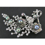 Bouquet Brooch with Rhinestone, Carved Shell & Freshwater Pearls
