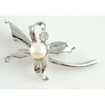 Mixed Art Nouveau Lily Freshwater Pearl Brooch & Rhinestone