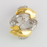 Zodiac Brooch Gold & Silver Pewter Tone Figural Fish Pisces
