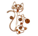 Figural Cat Gold Tone Rhinestone Brooch with Charm