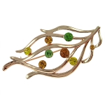 Gold Tone Stylized Leaf & Rhinestones Autumn Brooch