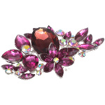 Victorian Style Large Rhinestone Floral Bouquet Purple Brooch