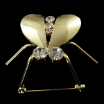 Insect Series Mirror Finish Metal & Rhinestone Beetle Brooch