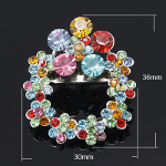 Multi Colored Faceted Rhinestone Floral Wreath Brooch Pendant