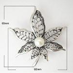Arts & Crafts Style Pearl Beaded Pointed Flower Blossom Brooch