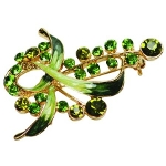 Enamel Gold Tone Flower Blossom & Foliage Green Brooch