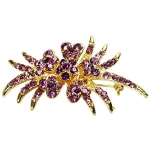 Enamel Gold Tone Purple Rhinestone Flower Blossom Swag Brooch