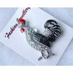 Enamel Decorated Figural Rooster Brooch with Rhinestone Accents