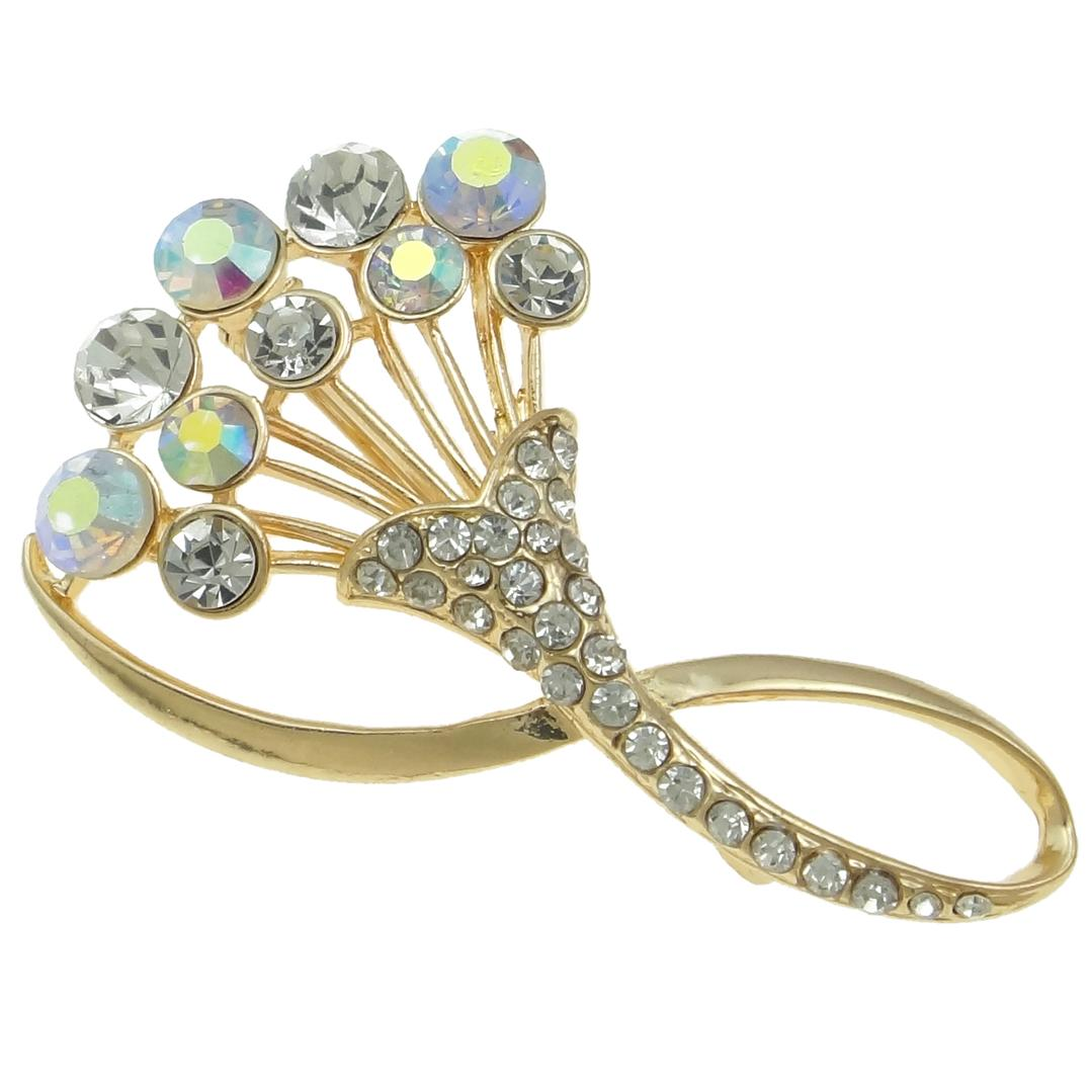 Vintage Style Bouquet Iridescent AB Rhinestone Brooch
