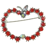 Red & Aurora Borealis Rhinestone Teacher Apple Brooch
