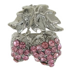 Pink Rhinestone Studded Strawberry Silver Tone Brooch