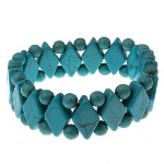 Blue Turquoise Gemstone Diamond & Circle Bead Stretch Bracelet