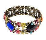 Mixed Victorian Style Floral Filigree Faux Rhinestone Bracelets