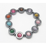 Non-Magnetic Hematite & Glass Cats&#39 Eyes Stretch Bracelet