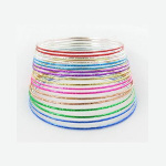 Pack 18 Bright Rainbow Colors Metal Bangle Bracelets