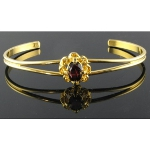 Gold Plated Cuff Bracelet with Genuine Faceted Garnet Stone