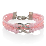 Pink Wax & Faux Suede Cord Double Infinity Silver Tone Bracelet