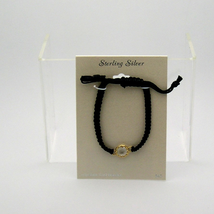 Vermeil Gold on Sterling Silver Adjustable Cord Bracelet ~ Black