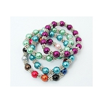 Glass Pearl Bead & Tibetan Silver Spacer Stretch Bracelet
