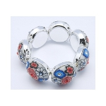Retro 1960's Flower Blossom & Rhinestone Stretch Bracelet ~ Gray