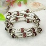 Adjustable Glass Bead & Silver Wrap Bracelet ~ AMETHYST