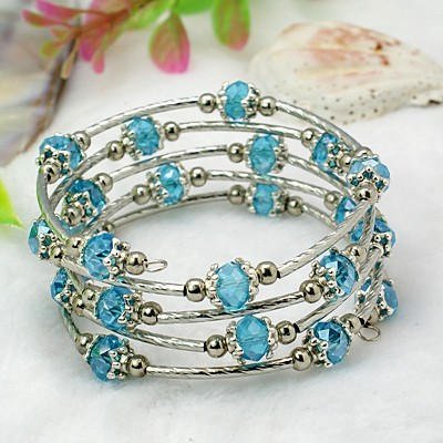 Adjustable Glass Bead & Silver Wrap Bracelet ~ Azure Blue