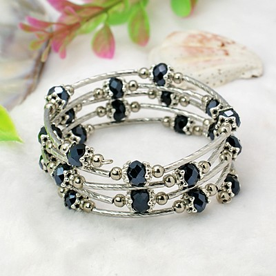 Adjustable Glass Bead & Silver Wrap Bracelet ~ Black AB