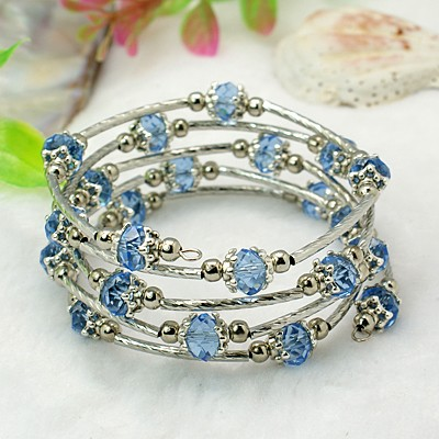 Adjustable Glass Bead & Silver Wrap Bracelet ~ Cornflower Blue