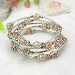 Adjustable Glass Bead & Silver Wrap Bracelet ~ Pink