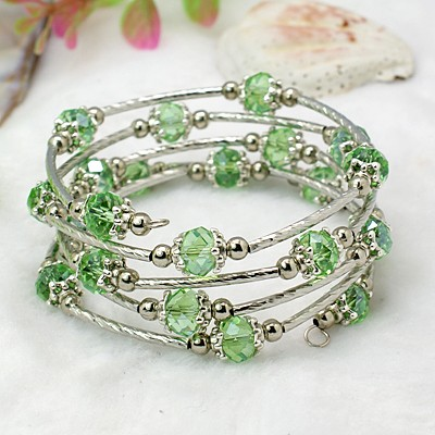 Adjustable Glass Bead & Silver Wrap Bracelet ~ Sage Green
