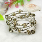 Adjustable Glass Bead & Silver Wrap Bracelet ~ Smoke Gray AB