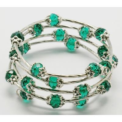 Adjustable Glass Bead & Silver Wrap Bracelet ~ Emerald