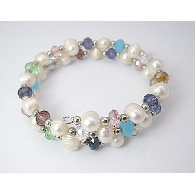 Adjustable Freshwater Pearl Wrap Bracelet Glass Silver Tone Bead