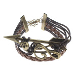 Bronze Tone Leather Cord Music G Clef Skull Infinity Bracelet