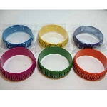 Mixed Reticulated Metal Bright Retro Colors Bangle Bracelets