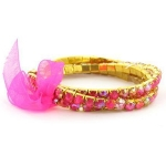 Faux AB Rhinestone Stretch Bracelet ~ Pink on Gold Tone