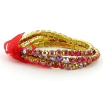 Faux AB Rhinestone Stretch Bracelet ~ Red on Gold Tone