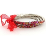 Faux AB Rhinestone Stretch Bracelet ~ Red on Silver Tone