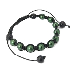 Adjustable Shambhala Dark Green Glass Pearl Bracelet
