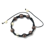 Adjustable Shambhala Solid Glass & Gold Spacers ~ Mahogany