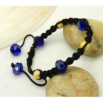 Shambhala Faceted Crystal & Gold Bead Bracelet ~ Cobalt