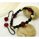 Shambhala Faceted Crystal & Gold Bead Bracelet ~ Ruby