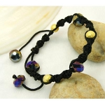 Shambhala Faceted Crystal & Gold Bead Bracelet ~ Amethyst AB