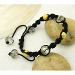 Shambhala Faceted Crystal & Gold Bead Bracelet ~ Light Smoke