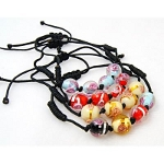 Mixed Adjustable Shambhala Cased Floral Glass Bead Bracelet