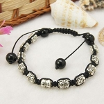 Adjustable Tibetan Silver Beaded Barrel Shambhala Bracelets