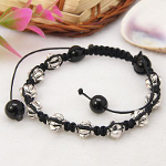 Adjustable Tibetan Silver Fancy Bicone Shambhala Bracelets
